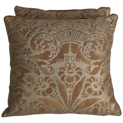 Bronze and Gold Campanelle Patterned Fortuny Accent Pillows, Pair