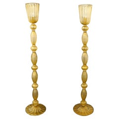 Toso Mid-Century Modern Crystal Gold Leaf Two Murano Glass Floor Lamps, 1975s
