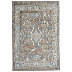 Blue, Brown and Gray Contemporary Handmade Wool Turkish Oushak Rug