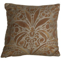 Bronze and Gold Campanelle Patterned Fortuny Accent Pillow