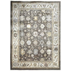 Ivory, Gold and Gray Contemporary Handmade Wool Turkish Oushak Rug