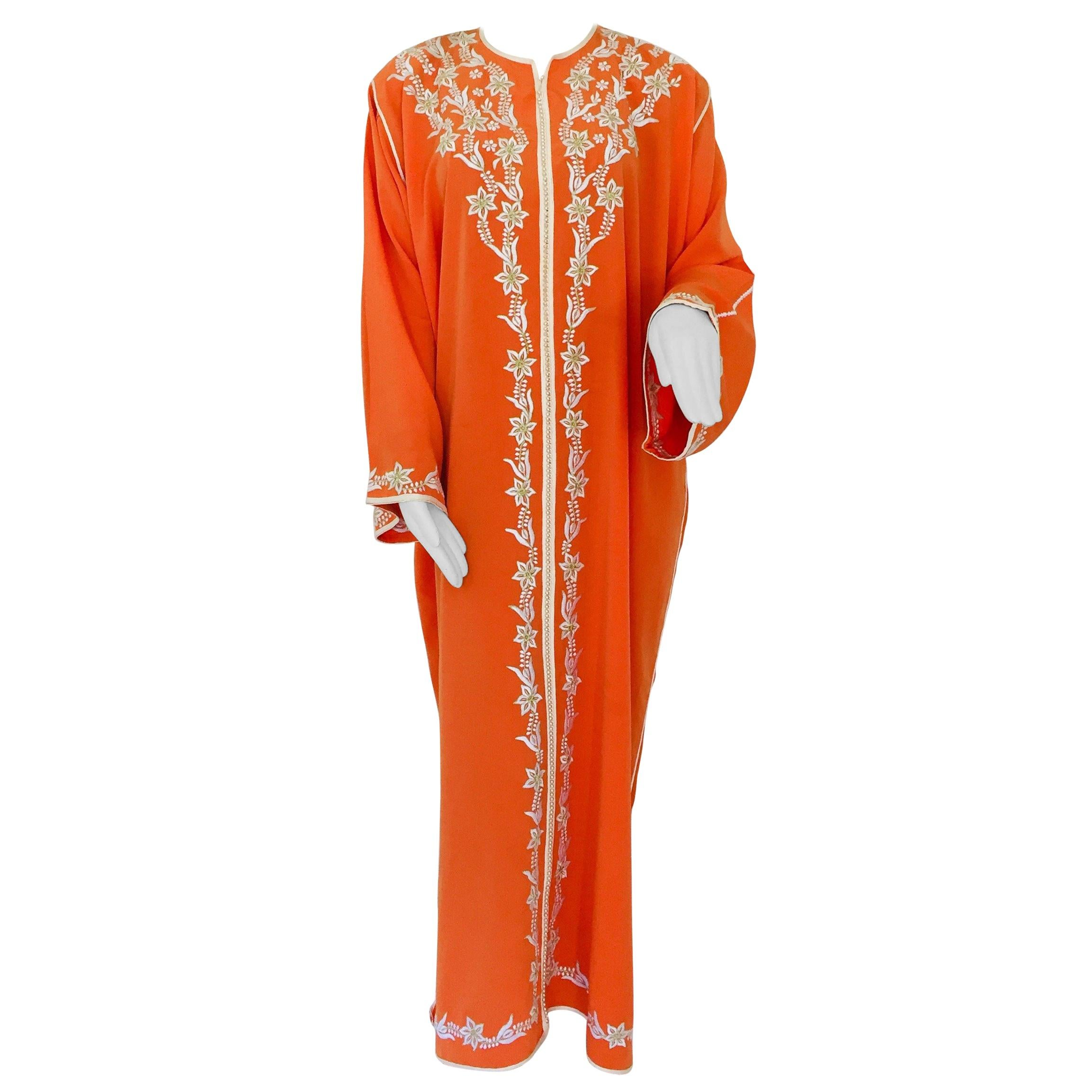 Moroccan Orange Kaftan Maxi Dress Caftan