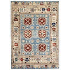 Blue, Gold and Red Contemporary Handmade Wool Turkish Oushak Rug