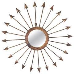 Large Pair of Gilt Iron Arrow Starburst Mirrors
