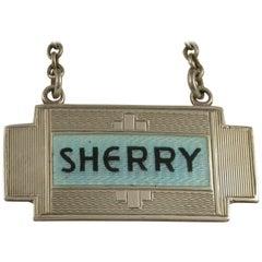 Art Deco Silver & Enamel Wine Label Sherry by Turner & Simpson Birmingham, 1933