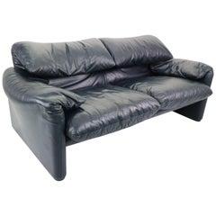 Maralunga 2-Seat Sofa by Vico Magistretti for Cassina in Dark Blue Leather, 1970