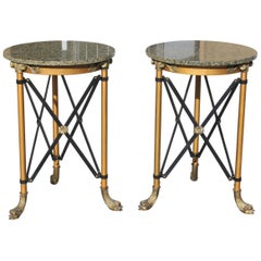Pair of French Neoclassical Style Bronze Side Table or Accent Table Marble Top