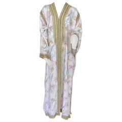 Moroccan Floral White Kaftan Maxi Dress Caftan Size Large