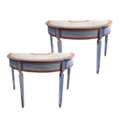 Mid-19th Century Italian Pair of Painted Neoclassical Style Console Tables
