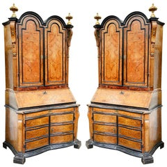 Rare Pair of 18th Century Italian Double Dome Bureau Bookcases, circa 1760