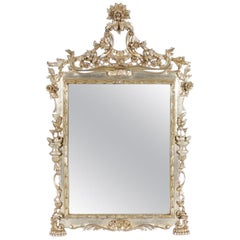 Italian Hollywood Regency Mirror with Silver Leaf Finish