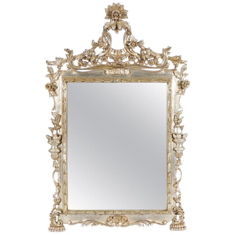 Italian Hollywood Regency Mirror with Silver Leaf Finish For Sale