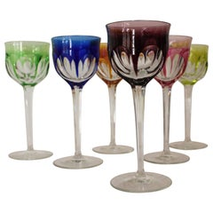 6 Colored Wine Glasses by Moser Karlsbad
