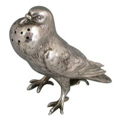 Victorian Antique Silver Fancy Pigeon Pepper James Barclay Hennell, London, 1879