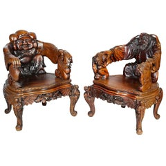 Meiji Period Century Japanese Carved Wood Armchairs, circa 1900