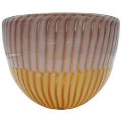 Modern Murano Glass Bowl, Amber and Amethyst Canes, by Cenedese, late 1990s