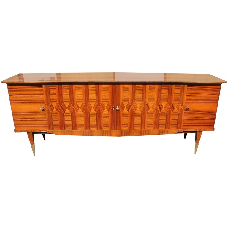 Long French Art Deco Exotic Macassar Ebony Buffet / Credenzas, 1940s For Sale