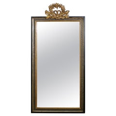 Large French Ebonised and Gilt Wall Mirror, Torch and Quiver Crest