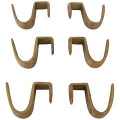 Six Brass Coat Hooks by Carl Auböck