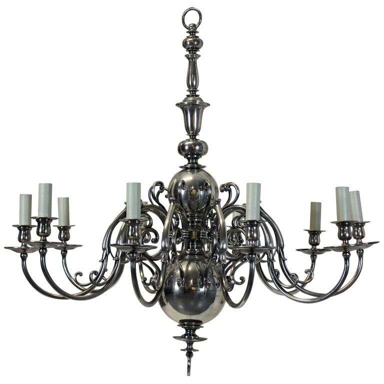 Large English Silver Plated Chandelier