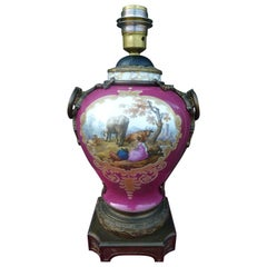 19th Century Maroon Pink Hand Painted Porcelain Lamp by Dresden
