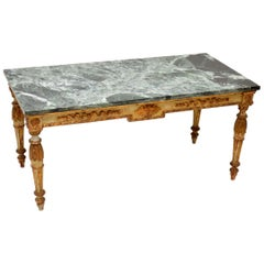 Antique French Marble-Top Coffee Table