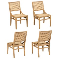 Handcrafted Outdoor Dining Chairs, Woven Cane/Teak