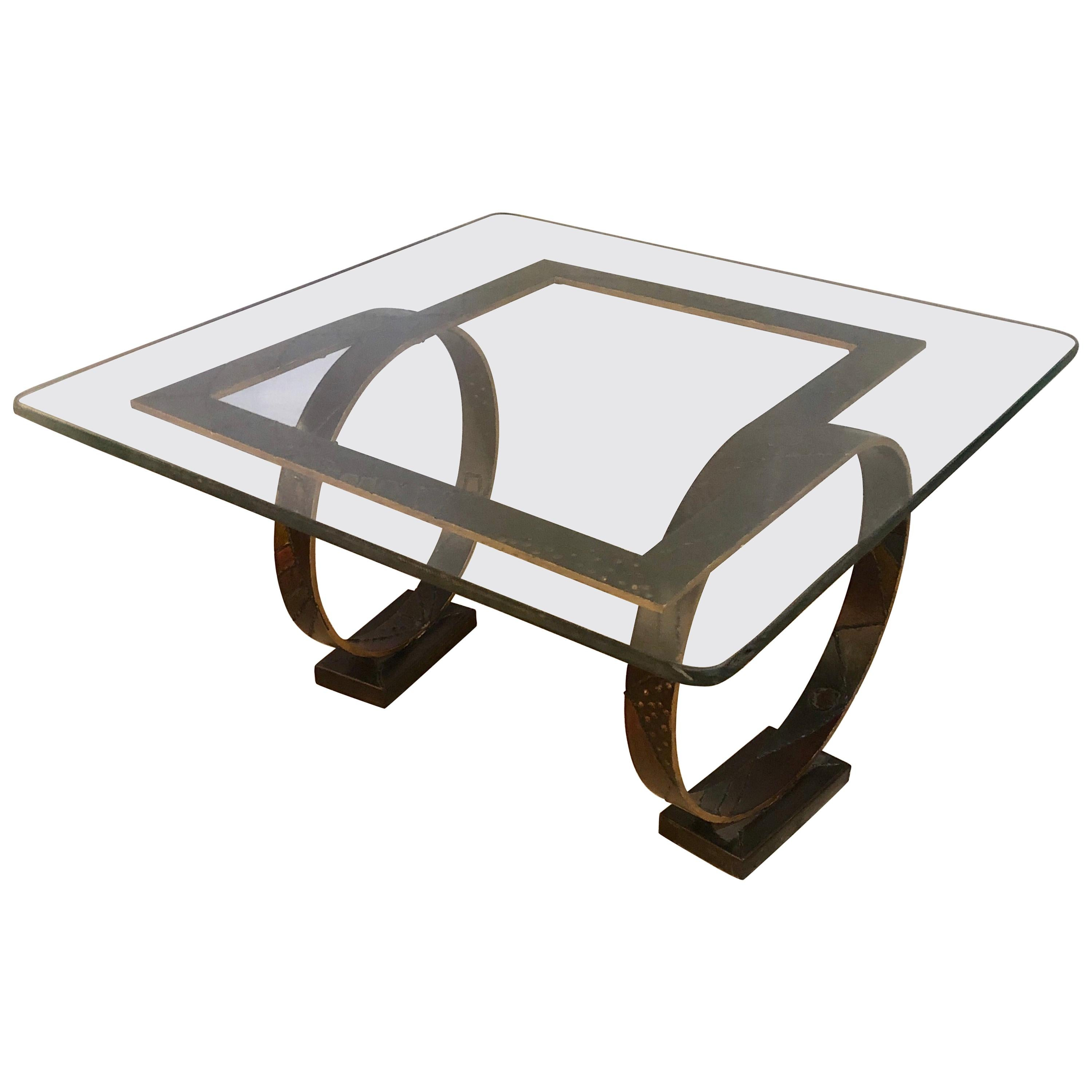 Paul Evans Style Square Welded Coffee Table Metal Base and Feet