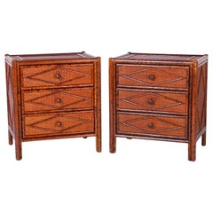 Pair of Midcentury Faux Bamboo and Grasscloth Chests or Nightstands