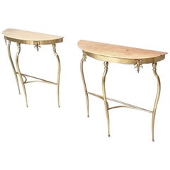 Pair of Console Tables with Demilune Portuguese Pink Marble Top, Italy, 1950s