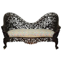 Burmese Padouk Wood Carved Settee Sofa, Asian 19th Century