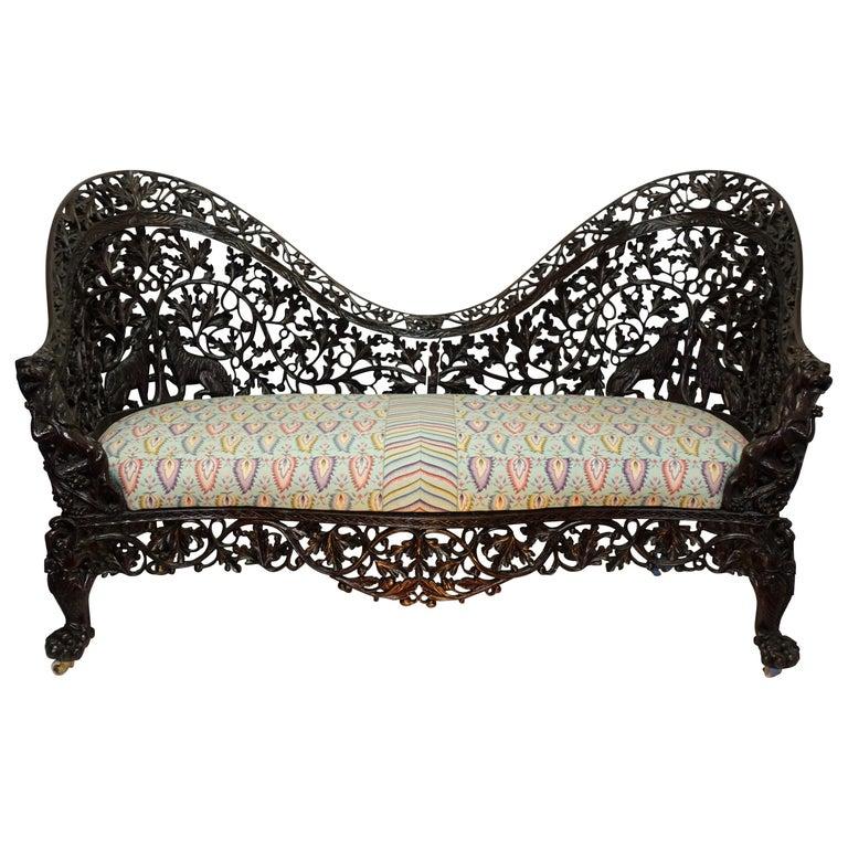 Burmese Padouk Wood Carved Settee Sofa, Asian 19th Century For Sale