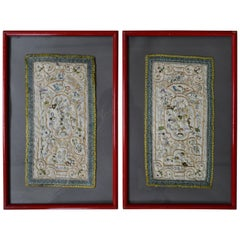 Pair of Early 19th Century Chinese Embroidered Silk Shoulder Panels