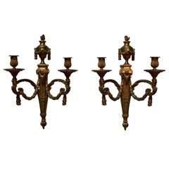 Pair of  Large French Bronze Louis XVI Style Wall Sconces