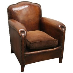 1980s Single French Leather Club Chair with Wooden Feet in a Brown Tone