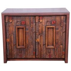 Lane Pueblo Brutalist Mid-Century Modern Oak Nightstand, Newly Restored