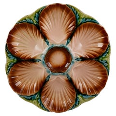 19th Century Sarreguemines Majolica Seaweed and Shell Barbotine Oyster Plate