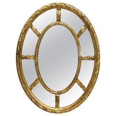 1950s Gilded Oval Wall Mirror from France
