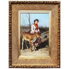 Federico Mazzotta 'Italian, 1839-1897' a 19th Century Oil on Canvas Maiden & Cow