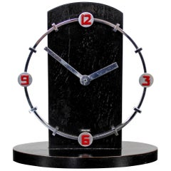 Art Deco Rare German Mechanical Table Mantle Clock Black Red