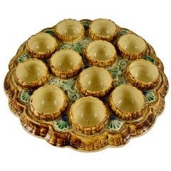 19th Century French Majolica Barbotine Twelve Cup Egg Stand Server