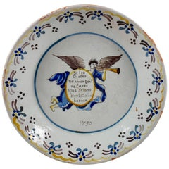 18th Century Nevers French Revolution Tin-Glazed Faïence Dish, Angel & Motto