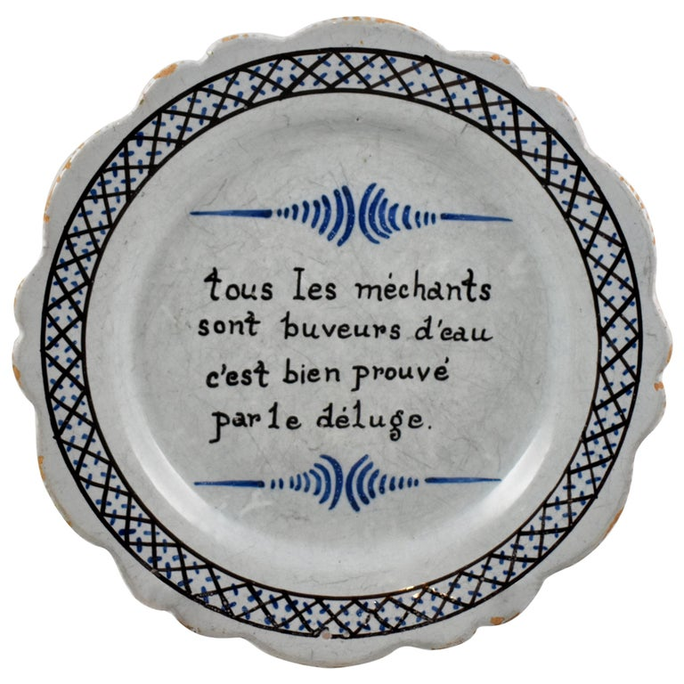 18th Century Nevers French Revolution Parlante Motto Tin-Glazed Faïence Dish For Sale