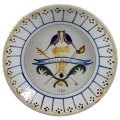 18th Century Nevers French Revolution Tin-Glazed Faïence Dish, Abondance
