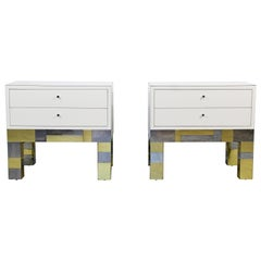 Mid-Century Modern Cityscape Pair of Nightstands, Signed Paul Evans, 1970s