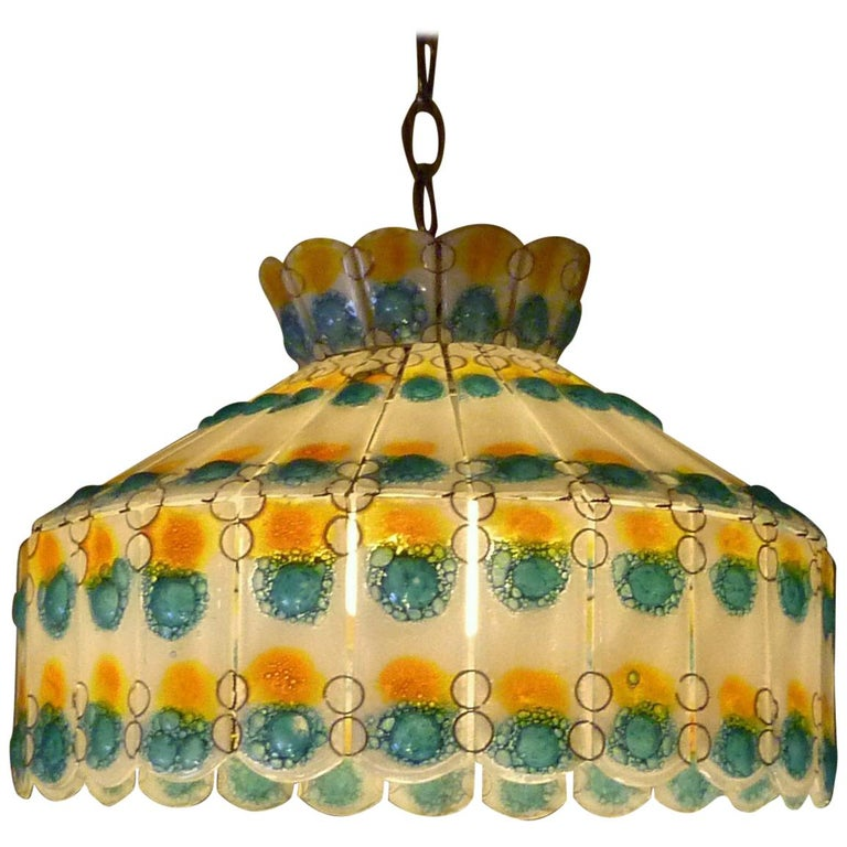 1960s Fused Art Glass Chandelier in the Manner of Michael and Frances Higgins For Sale