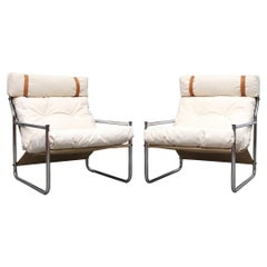 Pair of Chrome and Canvas Lounge Chairs with Headrests