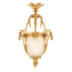 French 19th Century Louis XVI St. Ormolu and Frosted Glass Lantern