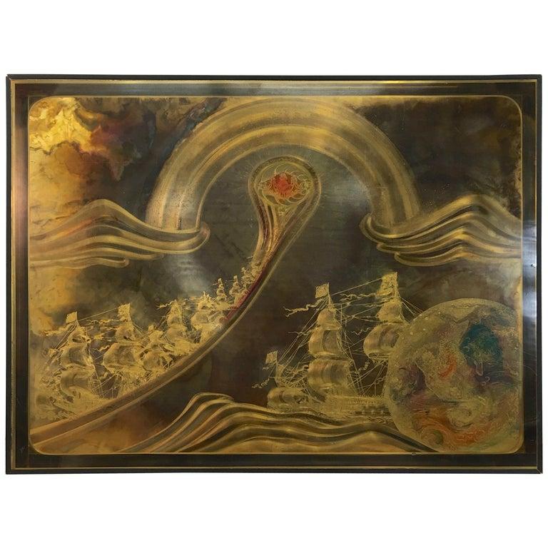 """Transmutation"" by Bernhard Rohne, Acid Etched Brass Panel in Frame 18/100 For Sale"