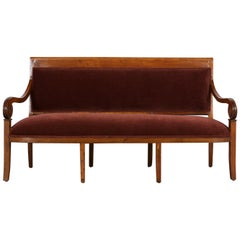 Circa 1830 French Empire Walnut Sofa Bench,